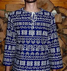 Oblečenie - Košeľa Čičmany na modrej pánska - 8537807_