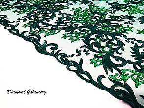 Textil - Luxusná krajková látka - tmavo zelená - cena za 10 cm - 8536671_