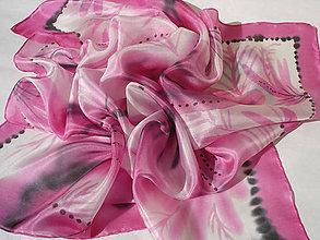 Šatky - Ružové vetvičky..hodvábna šatka - 8538686_