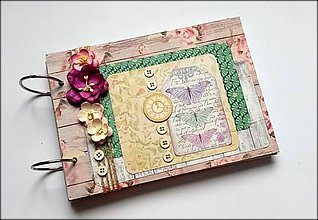 Papiernictvo - Vintage svadobný scrapbook album/ kniha hostí A5 - 8537161_