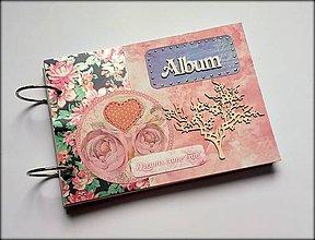 Papiernictvo - Vintage svadobný scrapbook album/ kniha hostí A5 - 8537229_