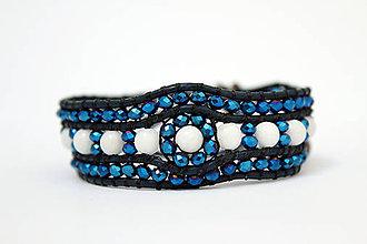 Náramky - Náramok v modrom trblietaní - 8539741_