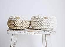 Košíky - Pletený košík mini - cappuccino/prírodný (Veľ. S) - 8538921_
