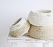 Košíky - Pletený košík mini - cappuccino/prírodný (Veľ. S) - 8538922_