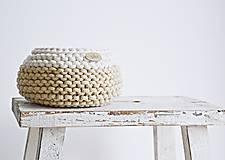 Košíky - Pletený košík mini - cappuccino/prírodný (Veľ. S) - 8538937_