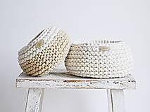 Košíky - Pletený košík mini - cappuccino/prírodný (Veľ. S) - 8538938_