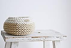 Košíky - Pletený košík mini - cappuccino/prírodný (Veľ. S) - 8538939_