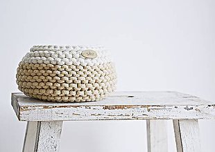 Košíky - Pletený košík mini - cappuccino/prírodný - 8538937_