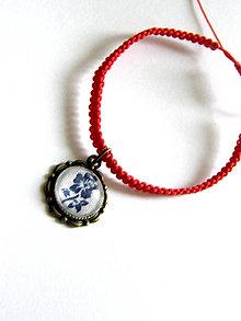 Náramky - biela modrotlac - kruh - shamballa - 8538501_