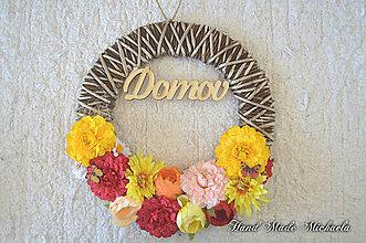 Dekorácie - venček DOMOV na dvere - 8539703_