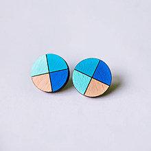 Náušnice - kruhy modré - napichovačky - 8539102_