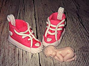 Drobnosti - Marcipánové topánočky+bábätko - 8539558_