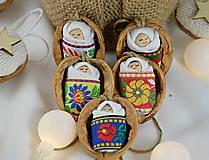 Dekorácie - Vianočné oriešky s bábätkom, folk rôzne stuhy - 8537663_