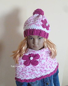 Detské čiapky - Melirovana hruba teplunka suprava ZLAVA - 8538879_