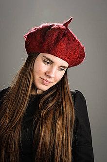 Čiapky - Červená Francúzska Baretka- huňatá, Merino vlna, Plstená - 8542401_