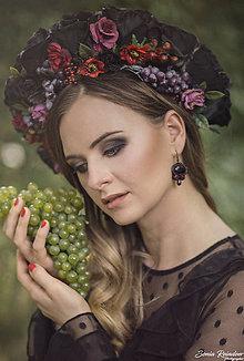 Ozdoby do vlasov - Folk kvetinová parta na štýl venčeka z kolekcie Black&Red folk - 8543132_