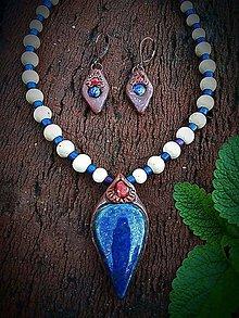 Sady šperkov - Lapis Lazuli + Koral set - 8540524_