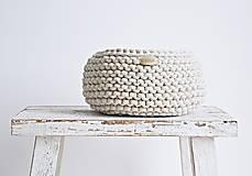 Košíky - Pletený košík - režný (Veľkosť L) - 8540594_