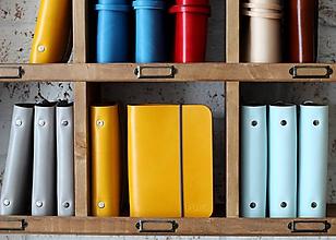 Papiernictvo - Kožený zápisník / karisblok A6 HONEY, GREY & BLUE SKY - 8542060_