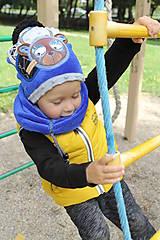 Detské čiapky - Hrejivý set s mackom - 8540941_