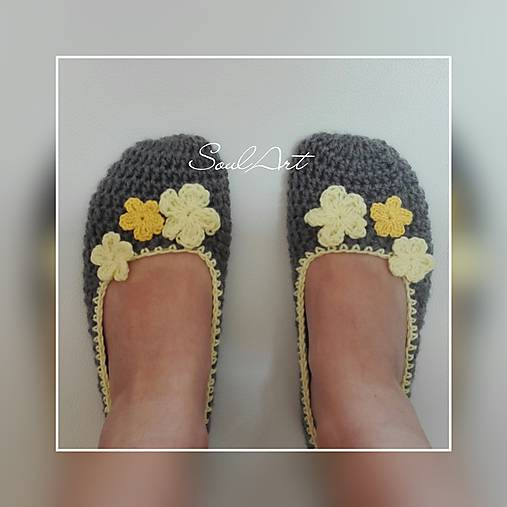 Háčkované papuče, balerínky v žltej SKLADOM