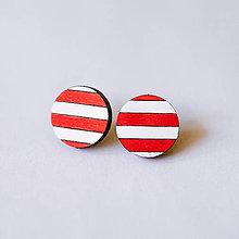 Náušnice - pásikavé // bielo-červené - napichovačky - 8542532_
