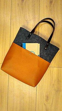 Kabelky - Filcová kabelka s koženkou II - 8542530_