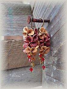 Náušnice - Srdiečkové kvetinky - jesenné tónny. - 8540679_