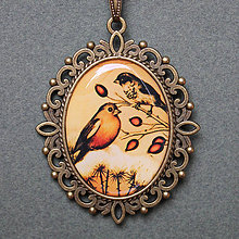 Náhrdelníky - Veľký náhrdelník - Ptáčci - originálny motív - 8540330_