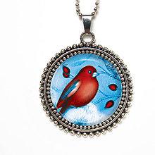 Náhrdelníky - Červený ptáček - autorský prívesok na retiazke - 8540645_