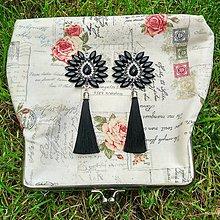 Náušnice - Krásne čierno-strieborné náušničky :) - 8540590_