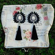 Náušnice - Krásne čierno-strieborné náušničky :) - 8541071_