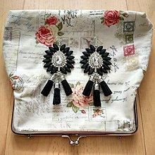 Náušnice - Krásne čierno-strieborné náušničky - 8541097_