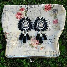 Náušnice - Krásne čierno-strieborné náušničky ;) - 8541108_