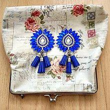 Náušnice - krásne modro-strieborné náušničky :) - 8541115_