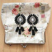 Náušnice - Krásne čierno-strieborné náušničky :) - 8541122_