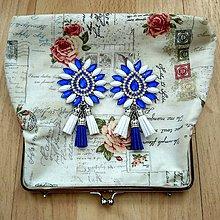 Náušnice - krásne modro-biele náušničky :) - 8541135_