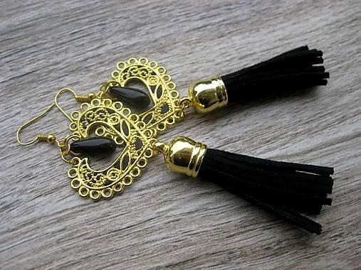 Veľké srdcové náušnice (zlato čierne so strapcami č.1254)
