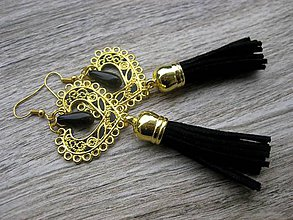 Náušnice - Veľké srdcové náušnice (zlato čierne so strapcami č.1254) - 8541772_