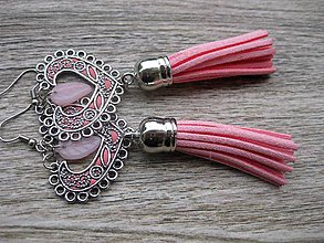 Náušnice - Veľké srdcové náušnice (svetlo ružové so strapcami č.1255) - 8541780_