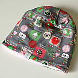 Detské čiapky - detská čiapka oteplená obrázky ružové - 8541502_