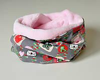 Detské doplnky - detský nákrčník oteplený obrázky ružové - 8541514_