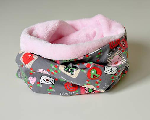 detský nákrčník oteplený obrázky ružové