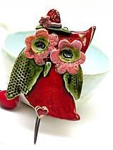 Nábytok - vešiak sova červeno zelená - 8540649_