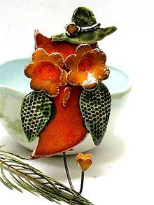 Nábytok - vešiak sova oranžová - 8540626_