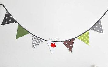 Textil - Vlajky-Girlanda 1.6m - 7-8  vlajočiek 18cm kolekcia Lišiak - 8546380_