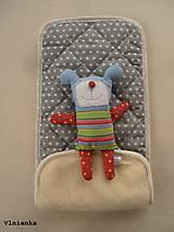 Textil - Podložka do vaničky Petite&Mars Vario 100% merino Hviezdička šedá sivá - 8544809_