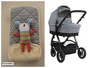 Textil - Podložka do vaničky Petite&Mars Vario 100% merino Hviezdička šedá sivá - 8544877_