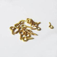 Komponenty - Vŕtací háčik zlatá farba 10ks / 8mm - 8545192_