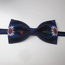Doplnky - pánsky motýlik FOLK tmavo modrý V. - 8545822_